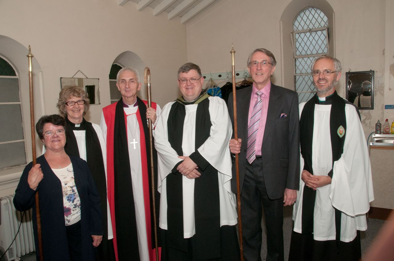 The Bishop of Doncaster stands with Chris McCarthy at his induction on 13 July.